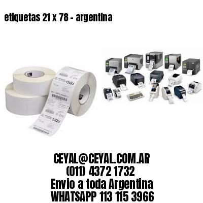 etiquetas 21 x 78 - argentina