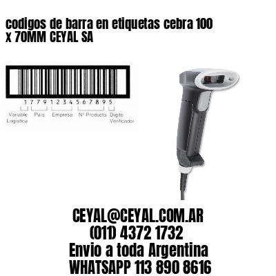 codigos de barra en etiquetas cebra 100 x 70MM CEYAL SA