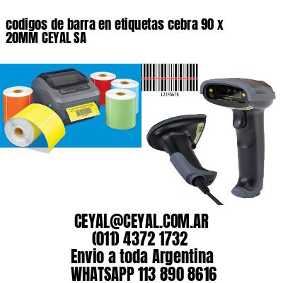 codigos de barra en etiquetas cebra 90 x 20MM CEYAL SA