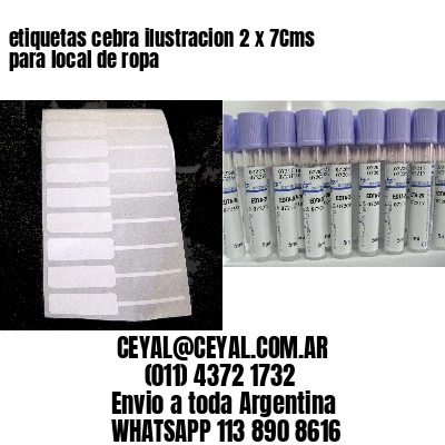 etiquetas cebra ilustracion 2 x 7Cms  para local de ropa