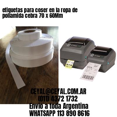 etiquetas para coser en la ropa de poliamida cebra 70 x 60Mm