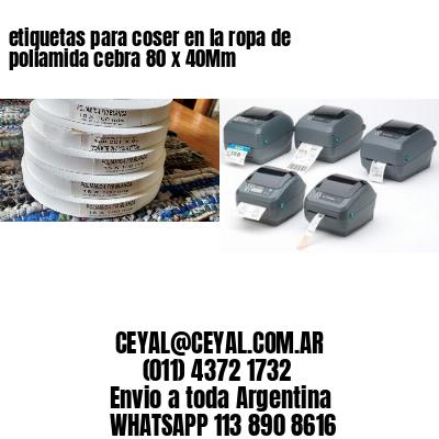 etiquetas para coser en la ropa de poliamida cebra 80 x 40Mm
