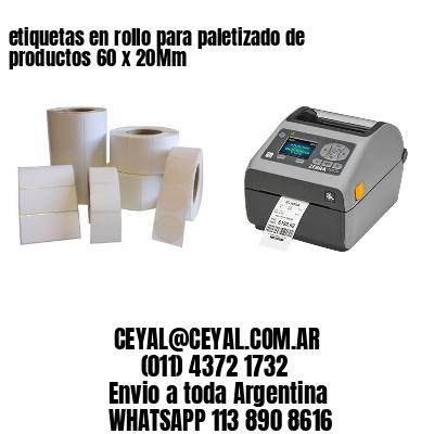 etiquetas en rollo para paletizado de productos 60 x 20Mm