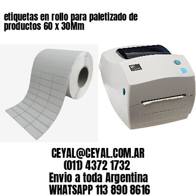 etiquetas en rollo para paletizado de productos 60 x 30Mm