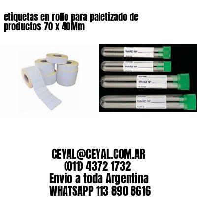 etiquetas en rollo para paletizado de productos 70 x 40Mm