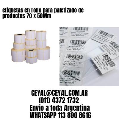 etiquetas en rollo para paletizado de productos 70 x 50Mm