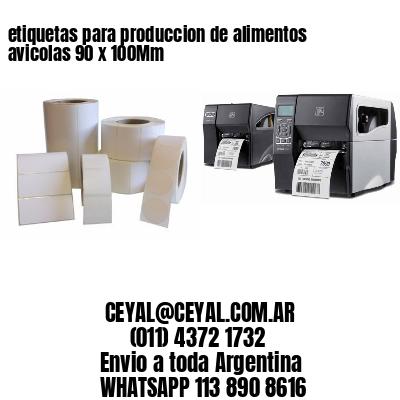 etiquetas para produccion de alimentos avicolas 90 x 100Mm