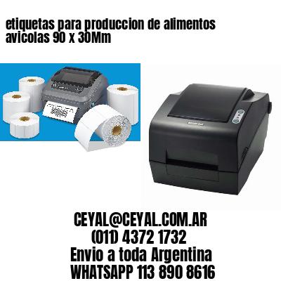 etiquetas para produccion de alimentos avicolas 90 x 30Mm