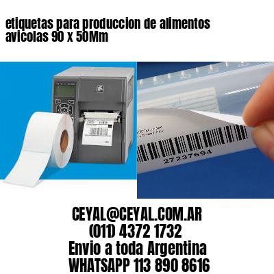 etiquetas para produccion de alimentos avicolas 90 x 50Mm