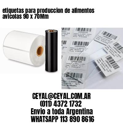 etiquetas para produccion de alimentos avicolas 90 x 70Mm
