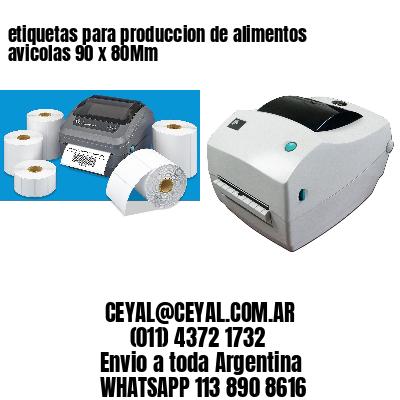 etiquetas para produccion de alimentos avicolas 90 x 80Mm