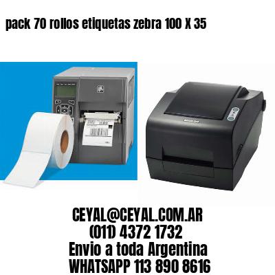 pack 70 rollos etiquetas zebra 100 X 35