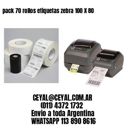 pack 70 rollos etiquetas zebra 100 X 80