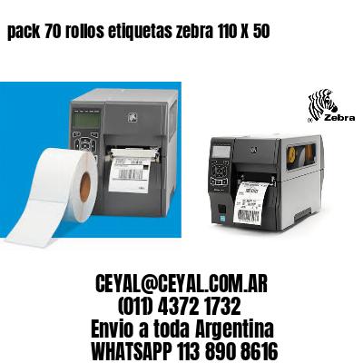 pack 70 rollos etiquetas zebra 110 X 50