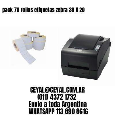 pack 70 rollos etiquetas zebra 38 X 20