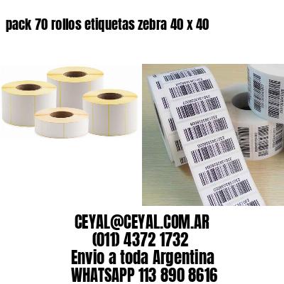 pack 70 rollos etiquetas zebra 40 x 40