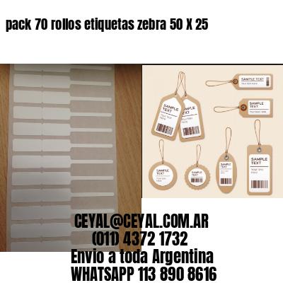 pack 70 rollos etiquetas zebra 50 X 25