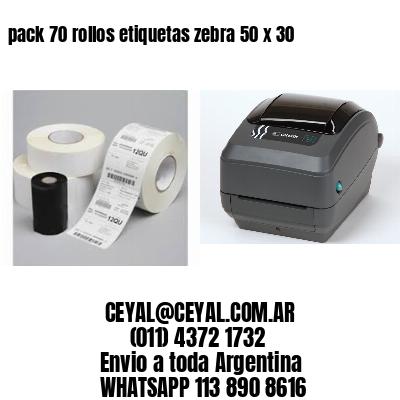 pack 70 rollos etiquetas zebra 50 x 30