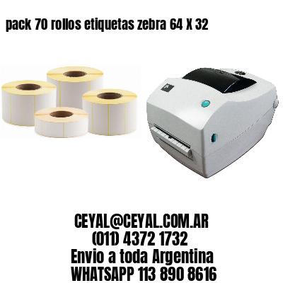 pack 70 rollos etiquetas zebra 64 X 32