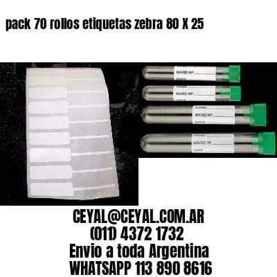 pack 70 rollos etiquetas zebra 80 X 25