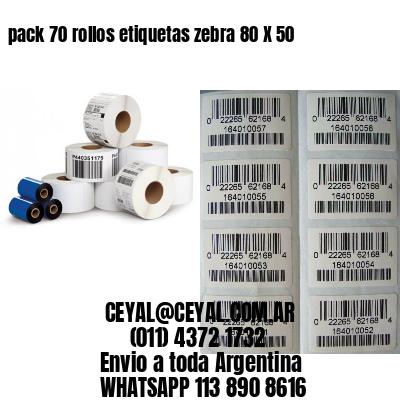 pack 70 rollos etiquetas zebra 80 X 50