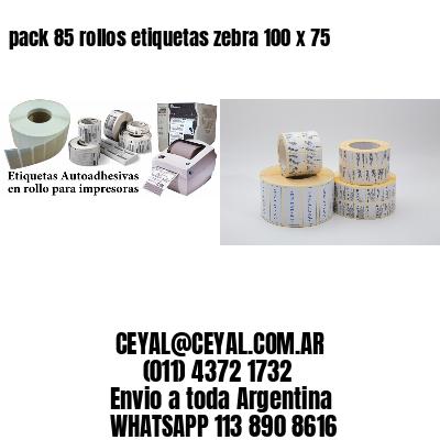 pack 85 rollos etiquetas zebra 100 x 75