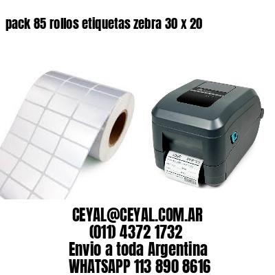 pack 85 rollos etiquetas zebra 30 x 20