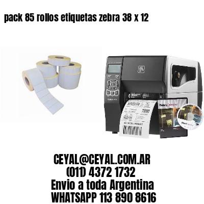 pack 85 rollos etiquetas zebra 38 x 12