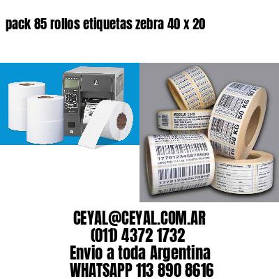 pack 85 rollos etiquetas zebra 40 x 20