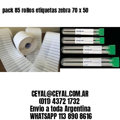 pack 85 rollos etiquetas zebra 70 x 50