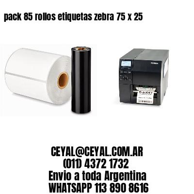 pack 85 rollos etiquetas zebra 75 x 25