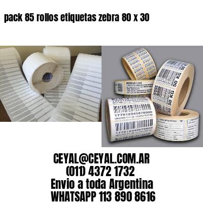 pack 85 rollos etiquetas zebra 80 x 30