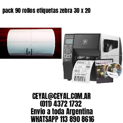 pack 90 rollos etiquetas zebra 30 x 20