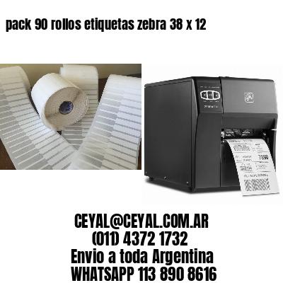 pack 90 rollos etiquetas zebra 38 x 12