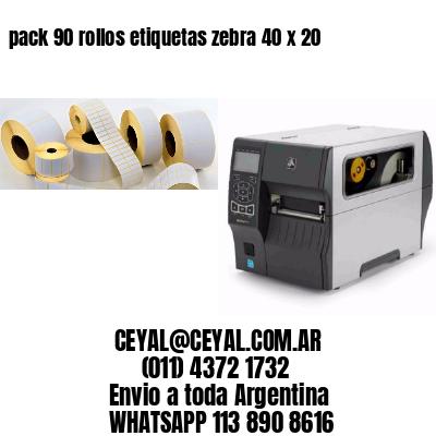 pack 90 rollos etiquetas zebra 40 x 20