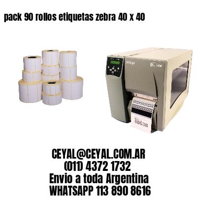 pack 90 rollos etiquetas zebra 40 x 40