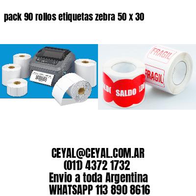 pack 90 rollos etiquetas zebra 50 x 30