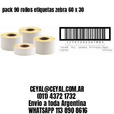 pack 90 rollos etiquetas zebra 60 x 30
