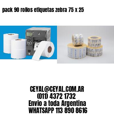 pack 90 rollos etiquetas zebra 75 x 25