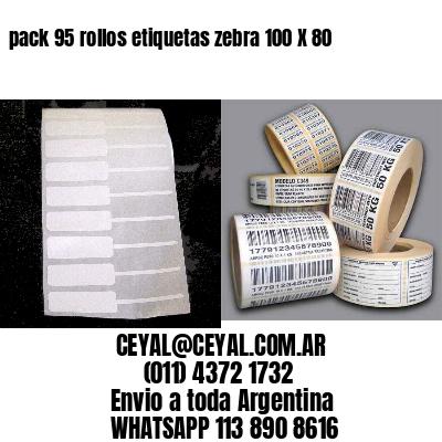 pack 95 rollos etiquetas zebra 100 X 80