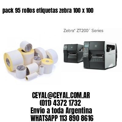 pack 95 rollos etiquetas zebra 100 x 100