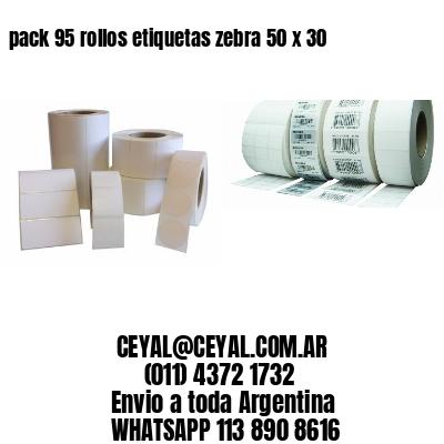 pack 95 rollos etiquetas zebra 50 x 30