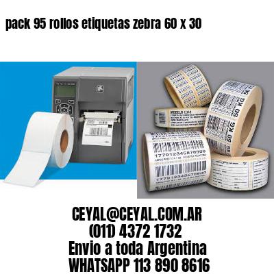 pack 95 rollos etiquetas zebra 60 x 30