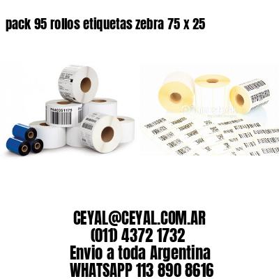 pack 95 rollos etiquetas zebra 75 x 25