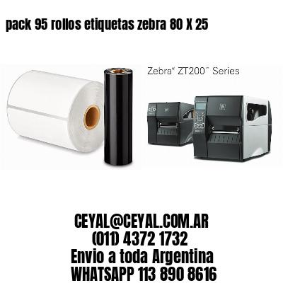 pack 95 rollos etiquetas zebra 80 X 25