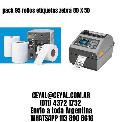 pack 95 rollos etiquetas zebra 80 X 50