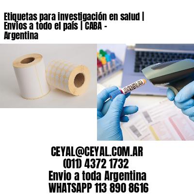 Etiquetas para investigación en salud | Envíos a todo el país | CABA - Argentina