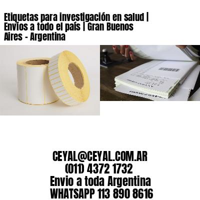Etiquetas para investigación en salud | Envíos a todo el país | Gran Buenos Aires - Argentina