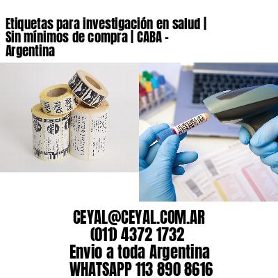 Etiquetas para investigación en salud | Sin mínimos de compra | CABA - Argentina
