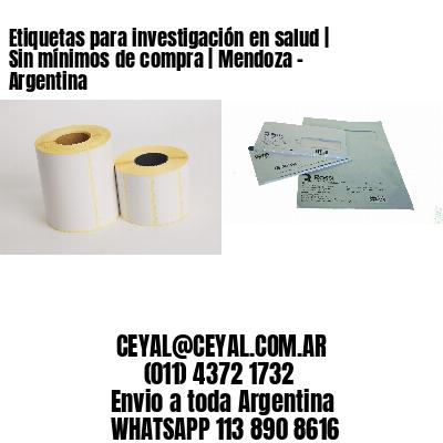 Etiquetas para investigación en salud   Sin mínimos de compra   Mendoza - Argentina